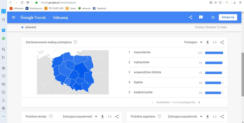 Google trends wyszukiwania w miastach