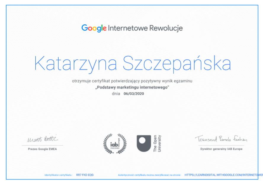 certyfikat Podstawy marketingu internetowego