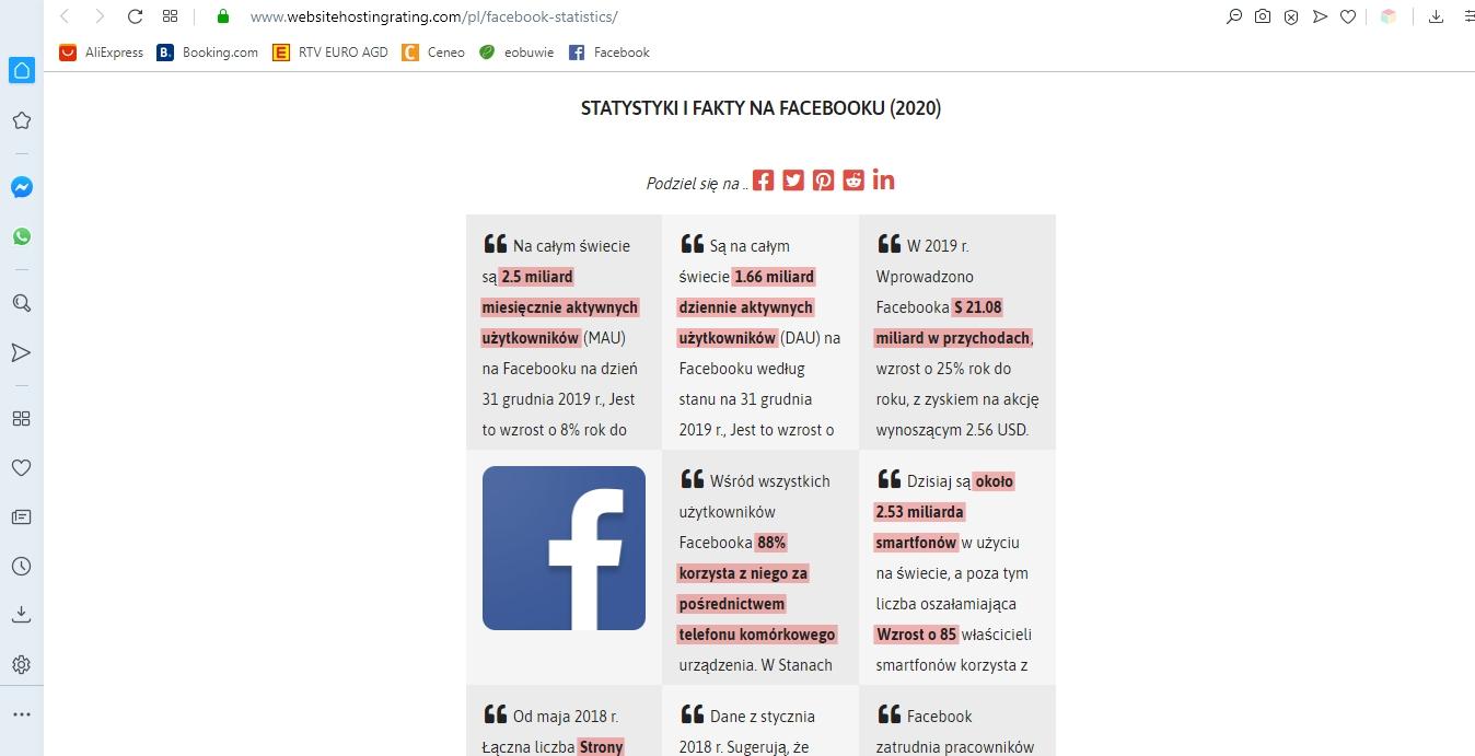 statystki i fakty na facebooku