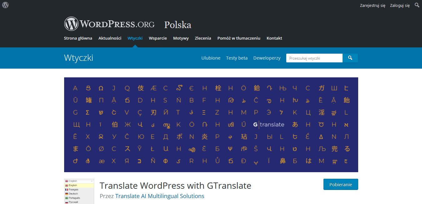wtyczka językowa gTranslate