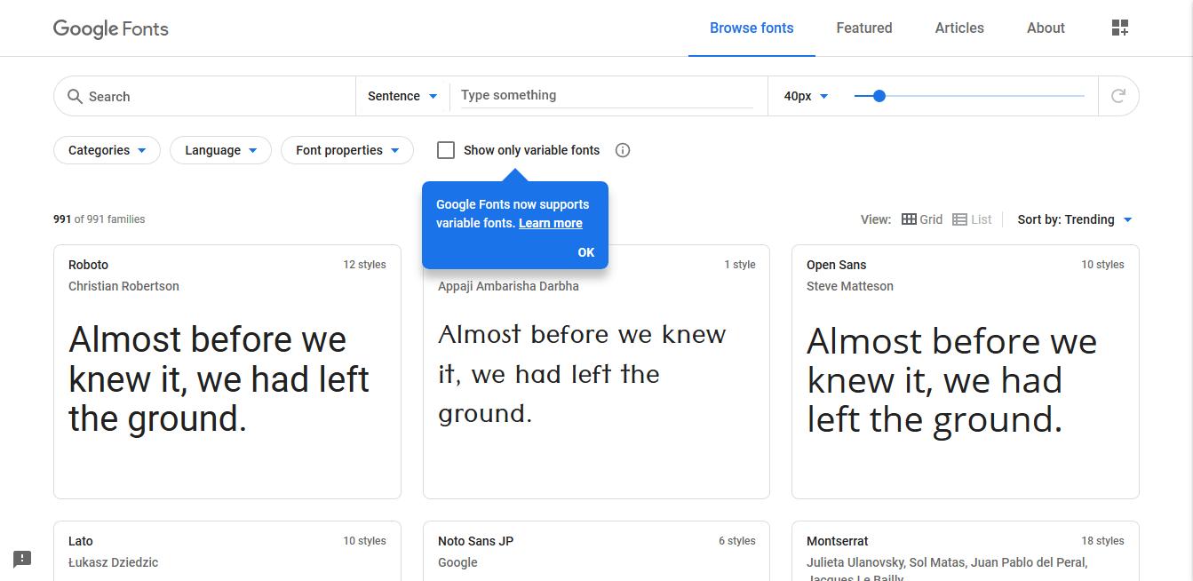 czcionki z Google