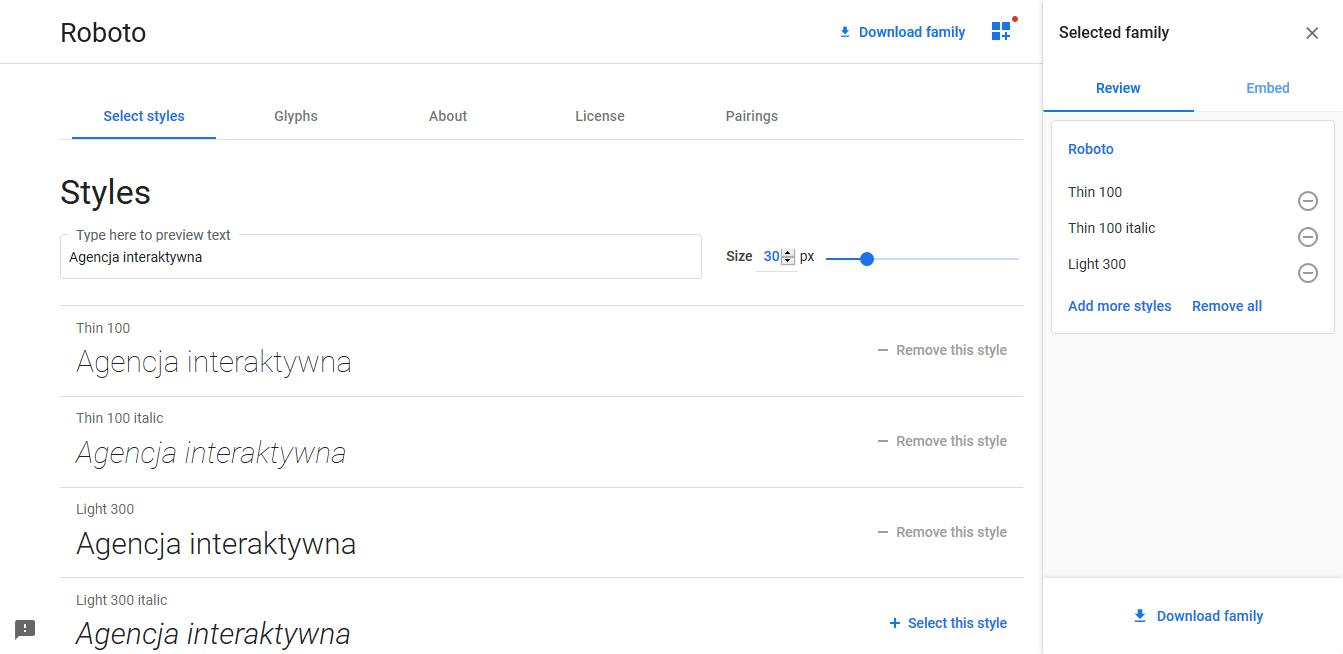 czcionki Google