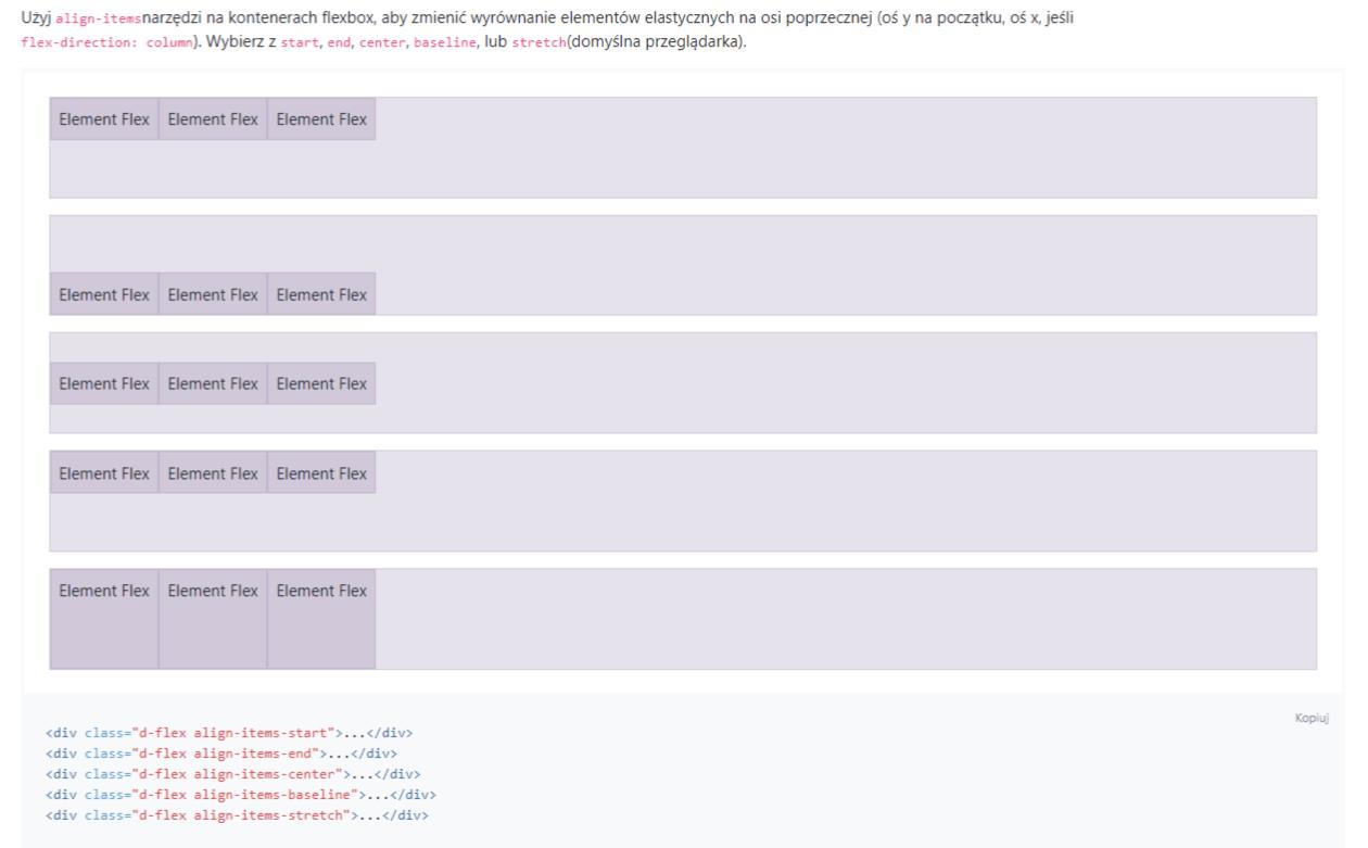 bootstrap wyrównaj elementy