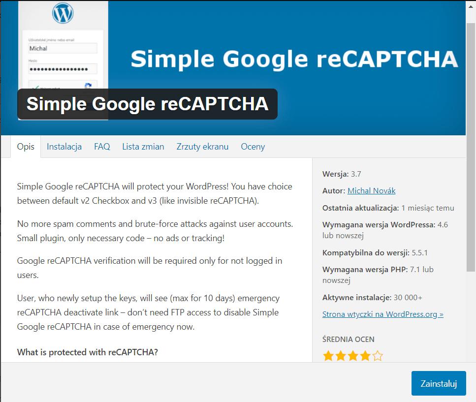 simple google reCAPTCHA