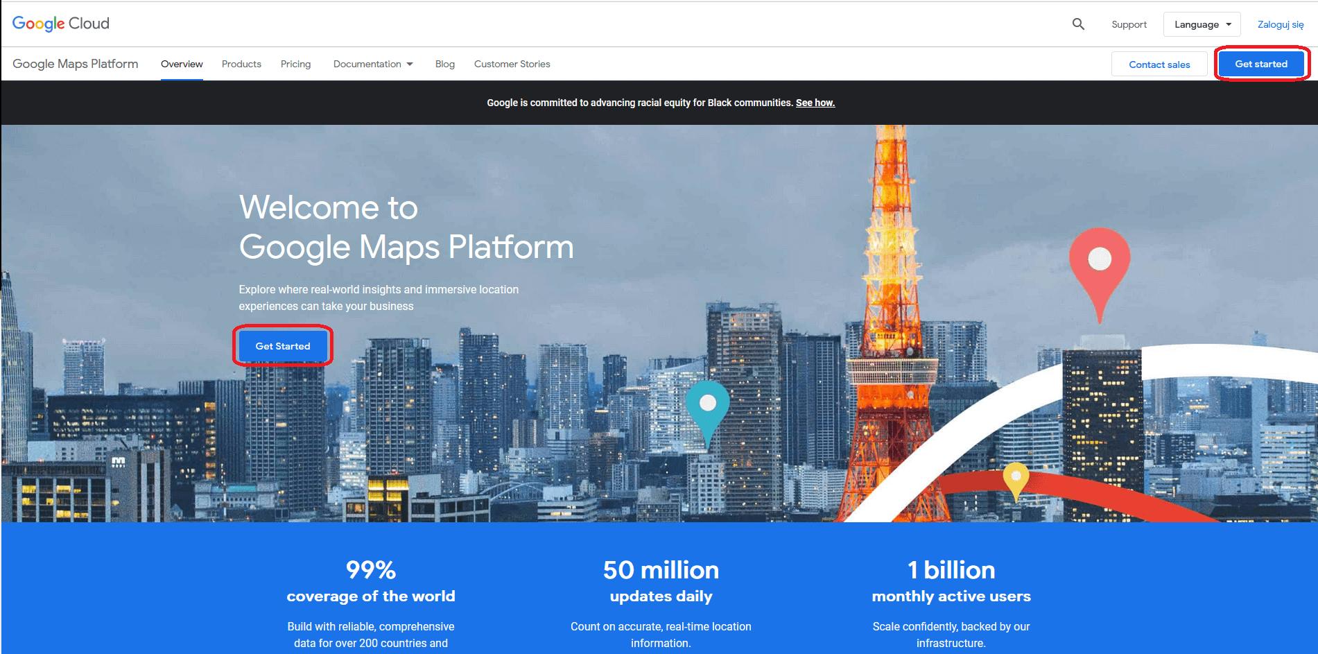 logowanie Google Cloud Platform