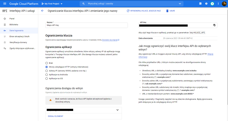 ograniczenia klucza API