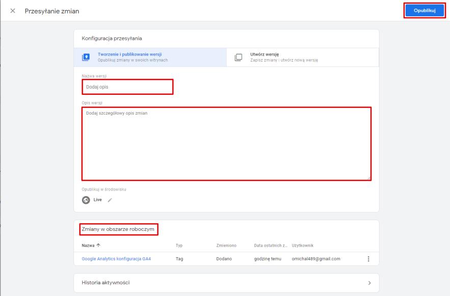 konfiguracja przesyłania tag google tag Manager