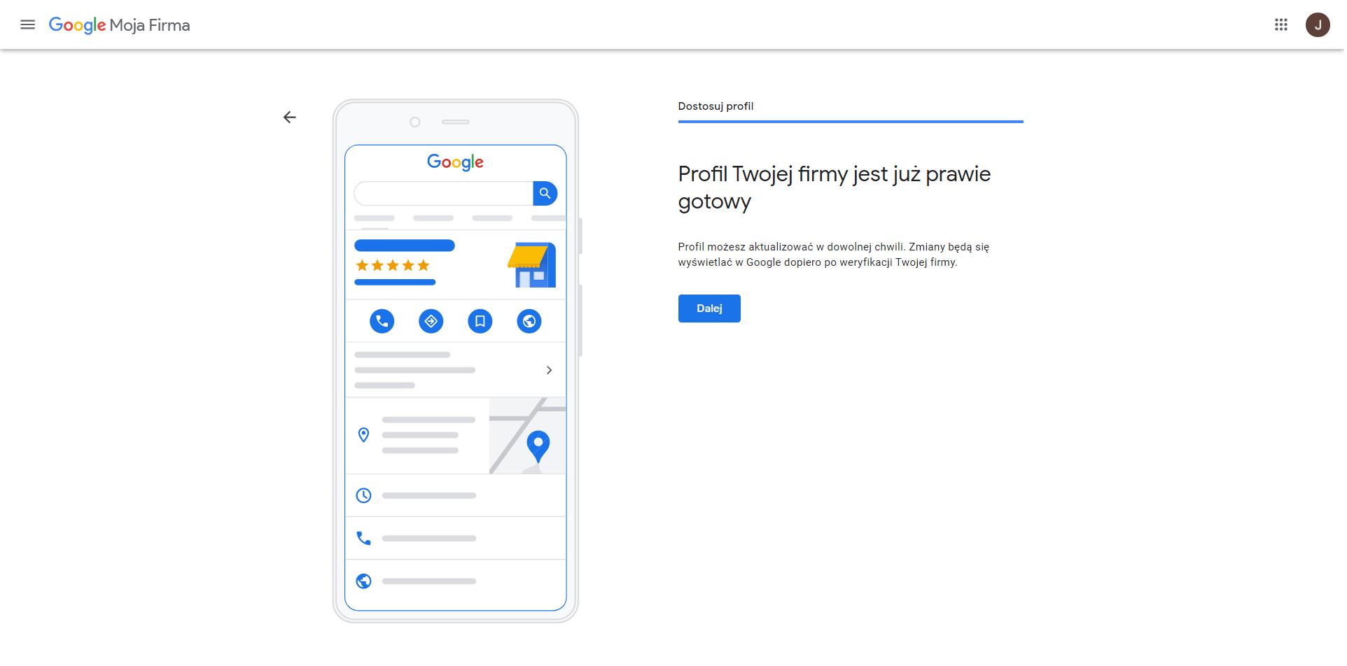 wizytowka google koniec