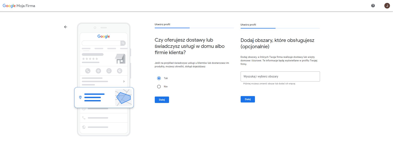 wizytowka google lokalizacja obszar