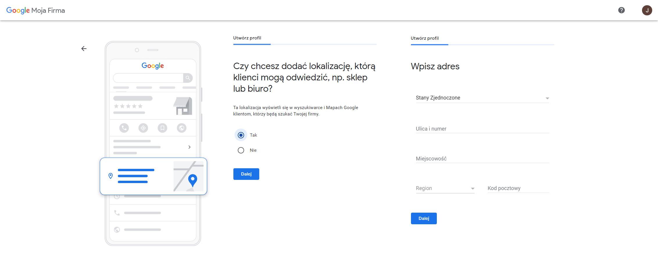 wizytowka google lokalizacja