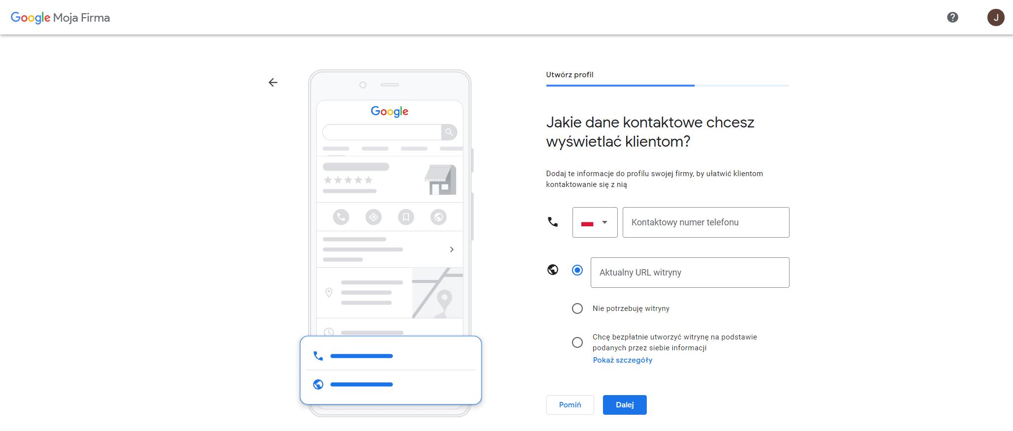 wizytowka google nr telefonu